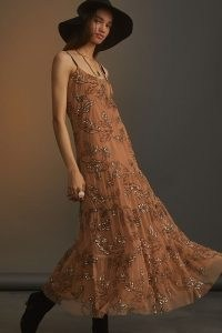 Maeve Sequined Tulle Midi Dress Neutral Motif ~ light-brown strappy sequinned net overlay dresses