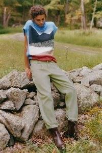 Anthropologie Landscape Turtleneck Knitted Vest Blue Motif ~ slouchy high neck sweater vests ~ oversized patterned tanks