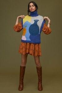 Anthropologie Fruit Turtleneck Knitted Vest in Blue ~ high neck sweater vests