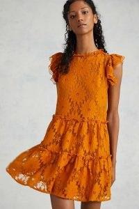 Blue Tassel Tiered Lace Tunic Dress ~ semi sheer ruffle trim floral dresses