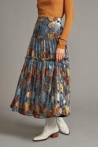 Eva Franco Metallic Midi Skirt ~ floral ruffle tiered skirts