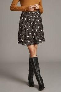 Lucky Monday Disco Mini Skirt ~ black spot print metallic detail skirts