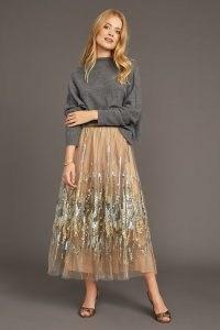 Geisha Designs Sequinned Tulle Midi Skirt in Neutral ~ sequin embellished sheer net overlay skirts