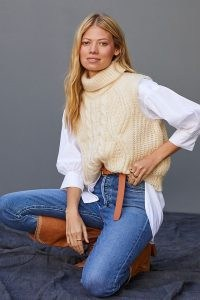 Anthropologie Cable-Knit Turtleneck Vest in Ivory ~ chunky high neck sweater vests ~ womens knitted tanks
