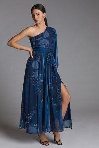 Nikita Mhaisalkar One-Shoulder Maxi Dress in Navy ~ feminine one sleeve occasion dresses