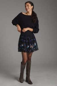 Anthropologie Sequined Tulle Mini Skirt in Black ~ sequin and bead embellished floral skirts ~ sequinned net overlay