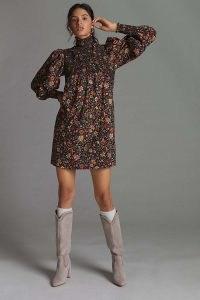 Plenty by Tracy Reese Smocked Floral Mini Dress Black Motif / 70s vintage style long sleeve high neck dresses / smock detail retro fashion
