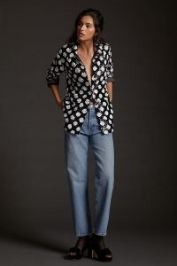 Maeve Sequined Shirt Jacket Black and White / sequinned monochrome shackets