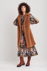 ANTHROPOLOGIE Faux-Shearling Gilet in Brown / womens longline textured gilets / women's sleeveless winter jackets