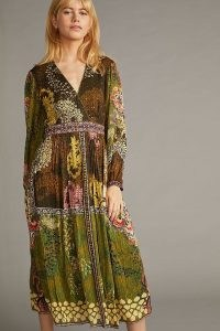 Bhanuni by Jyoti Sequin Printed Midi Dress in Green / sequinned floral dresses / mixed print fashion