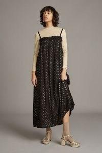 ANTHROPOLOGIE Jacquard-Spot Midi Dress Black