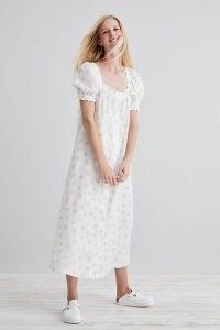 Sleeper Brigitte Midi Dress in White / daisy print puff sleeve linen dresses / square neck / feminine floral fashion