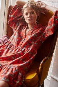 Kelly Louise Judd Whimsical Flannel Sleep Mini Dress Red / floral and insect print night dress / womens feminine nightwear