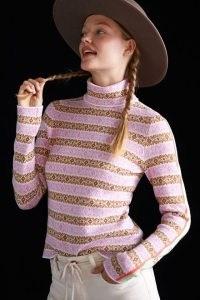 Maeve Ski Slope Turtleneck Jumper Pink Combo | patterned high neck jumpers | womens knitwear