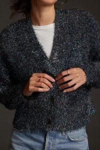 Anthropologie Tinsel Shimmer Cardigan in Blue | glittering metallic button front cardigans | sparkling winter knitwear
