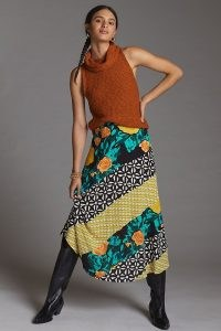 Plenty by Tracy Reese Floral Contrast Midi Skirt | mixed print skirts