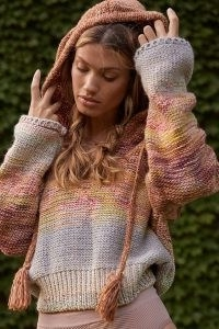 Pilcro Fringed Knit Hoody Pink | womens knitted pullover hoodies