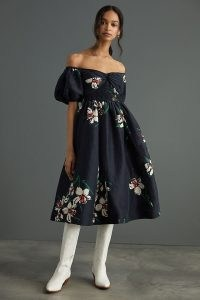 Hope For Flowers by Tracy Reese Off-The-Shoulder Midi Dress / floral fit and flare bardot dresses