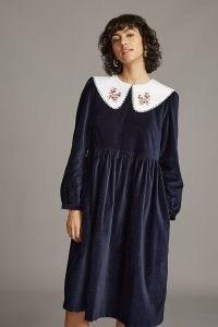 Meadows Pasque Midi Dress in Navy / dark blue velvet oversized collar dresses / floral collars