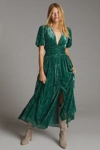 ANTHROPOLOGIE Burnout V-Neck Puff-Sleeved Midi Dress in Holly / green devoré plunge front dresses / bohemian evening fashion / boho occasion clothing