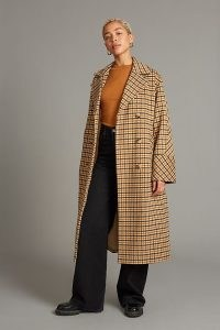 Selected Femme Ellen Check-Print Wool Coat in Sand / women's neutral checked wide sleeve longline coats / chic womens winter outerwear