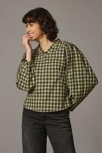 Kate Sheridan Nampara Top Green Motif / checked balloon sleeve ruffle V-neck cotton tops