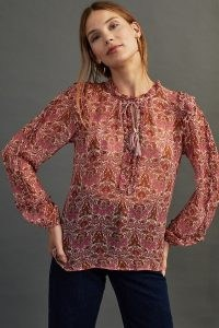Moliin Stella Shirt in Violet / floral semi sheer shirts / tassel tie neck tops