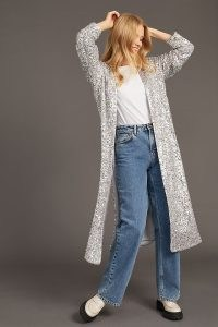 ANTHROPOLOGIE Sequinned Duster Jacket in Silver / shimmering longline open front sequin jackets