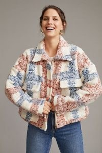 Levi's Sherpa Field Jacket / womens textured check print faux shearling jackets / women's casual winter outerwear