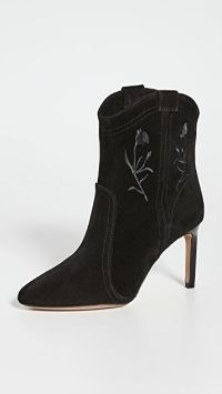 Ba&sh x Something Navy Caitlin Booties in Black Suede ~ floral embroidered western style stiletto heel ankle boots