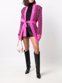 Balmain belted Monogram cardigan in hot pink / black ~ women's designer logo cardigans ~ womens vibrant knitwear