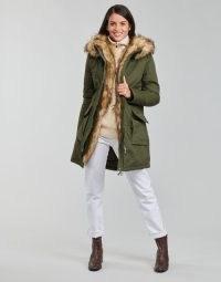 Betty London PAKERETTE Parka Coat in Kaki ~ womens khaki green faux fur trim coats ~ women's hooded outerwear ~ spartoo fashion