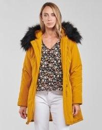 Betty London PAPAKA Parka Coat in Mustard ~ women's yellow parkas ~ womens faux fur trim hooded coats ~ spartoo winter outerwear