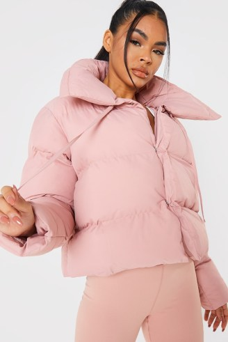 BILLIE FAIERS BLUSH SHORT PUFFER JACKET ~ pink padded celebrity inspired winter jackets - flipped