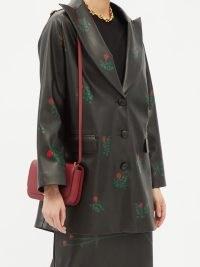 BERNADETTE Ashley floral-print faux-leather jacket in black – womens flower printed peak lapel jackets