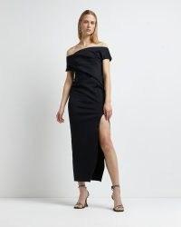 River Island BLACK ASYMMETRIC BARDOT MAXI DRESS | glamorous off the shoulder evening dresses | thigh high split hem occasion fashion