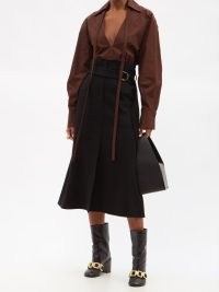 ANOTHER TOMORROW Belted high-rise cashmere midi skirt ~ chic black front split skirts