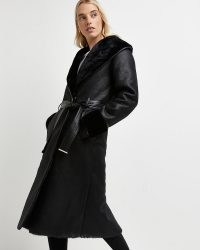 RIVER ISLAND Black belted trench coat ~ faux fur lined tie waist coats ~ womens winter outerwear