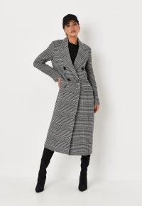 MISSGUIDED black check double breasted formal midaxi coat ~ chic winter outerwear ~ womens longline checked coats