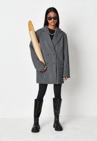 MISSGUIDED black check oversized boyfriend blazer coat ~ womens slouchy jacket inspired coats