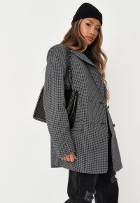 MISSGUIDED black check oversized boyfriend blazer coat – women's relaxed fit blazers with shoulder pads – womens menswear style jackets