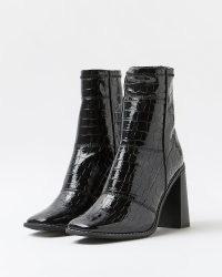 RIVER ISLAND BLACK CROC EMBOSSED PATENT SOCK BOOTS ~ womens crocodile effect square toe footwear