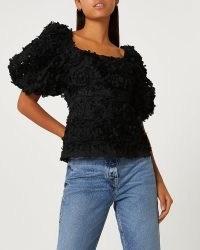 RIVER ISLAND BLACK 3D FLORAL TOP / romantic puff sleeve flower applique tops