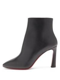 CHRISTIAN LOUBOUTIN Eleonor 85 black leather ankle boots ~ women's designer side zip boots ~ chic footwear