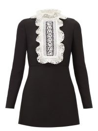 VALENTINO Embroidered-bib wool-blend crepe mini dress ~ long sleeve ruffle high neck LBD ~ little black occasion dresses