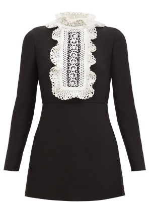 VALENTINO Embroidered-bib wool-blend crepe mini dress ~ long sleeve ruffle high neck LBD ~ little black occasion dresses - flipped