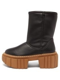 STELLA MCCARTNEY Emilie padded black faux-leather platform boots / womens chunky ridged thick sole boots