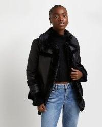 RIVER ISLAND Black faux shearling coat ~ on-trend winter coats
