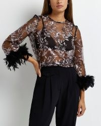 RIVER ISLAND BLACK FEATHER CUFF SEQUIN SHEER TOP ~ glamorous sequinned party tops ~ evening fashion