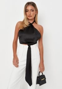 MISSGUIDED black halterneck knot detail satin crop top – evening glamour – cropped halter neck tops – glamorous going out fashion
